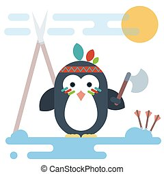 Flat penguin character stylized as a native American with tomahawk.