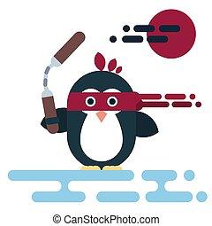 Flat penguin character stylized as a ninja with nunchaku.