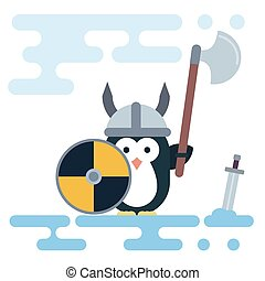 Flat penguin character stylized as a viking warrior with helm, shield and sword.