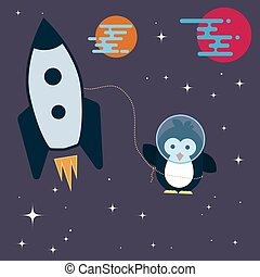 Flat penguin character stylized as an astronaut in the space.