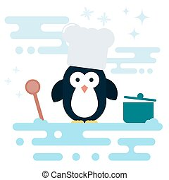 Flat penguin character stylized as chef with wooden spoon and with pot.