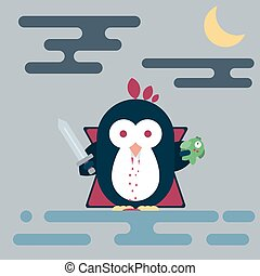 Flat penguin character stylized as vampire with sword and with dead fish. Modern flat illustration.