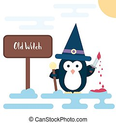 Flat penguin character stylized as witch with dagger and with pot. Modern flat illustration.