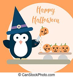 Flat penguin character stylized as witch with knife and with carved pumpkins. Halloween card template.