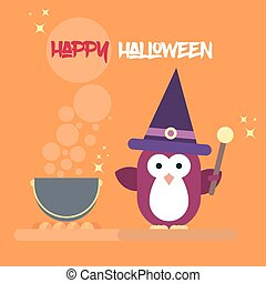 Flat penguin character stylized as witch with magic stick and with pot. Modern flat template of Halloween card.