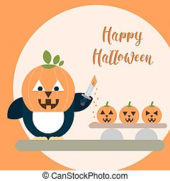 Flat penguin character with carved pumpkin on the head with knife and three pumpkins on the table.