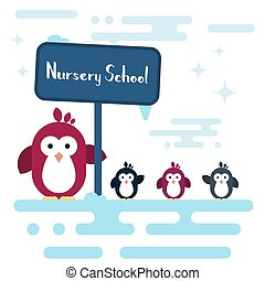 Flat penguins characters stylized as a nursery school on the...