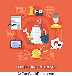 Flat Pensioner Hobbies Composition