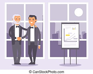 Flat people businessmen in formal black suits shaking hands banner vector illustration. Two man standing on window background with city view. Presentation with charts and graphs.