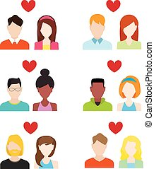 Flat people icons valentine set. Couple valentine and wedding icon