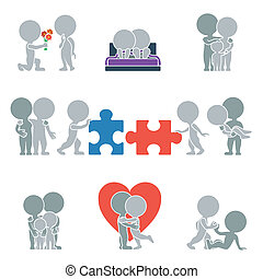 Flat people - relationships - Collection of flat icons with...