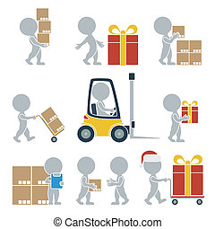 ?ollection of flat icons with people on shipping. Vector illustration.