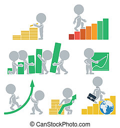 Flat people - statistics - Collection icons with people flat...