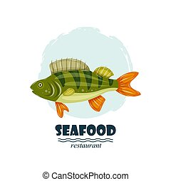 Flat perch seafood restaurant label with splash and text isolated on white background. Sea water animal icon. Design element for emblem, menu, logo, sign, brand mark