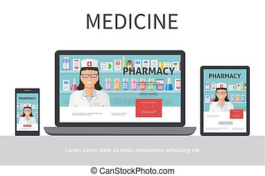 Flat Pharmacy Colorful Concept