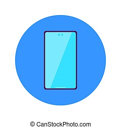 Flat Phone Circle Icon. Vector Illustration of Mobile