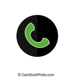 Flat Phone Icon in Circle Frame for Web, App, Internet, Smartphone Interface. Vector Button