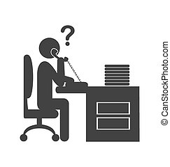 Flat phone people office icon isolated on white