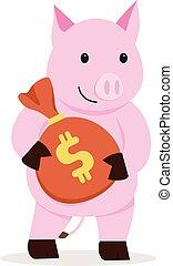 flat pig holding money bag cartoon design with isolatd white background. Vector illustration. Character pig with money. Saving money concept. Piggy bank character design.