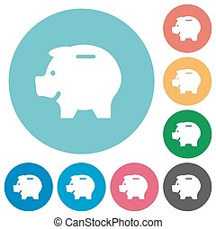 Flat piggy bank icons