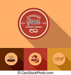 flat pikelet confectionery design - Flat Set of retro ...