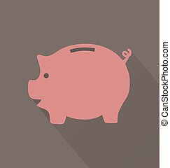 Flat Pink Piggy Bank Icon On Brown Background