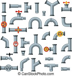 Flat pipes. Oil pipe with pressure gauge, metal tube...