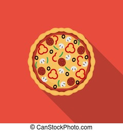 Flat pizza. Vector icon with long shadow