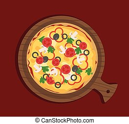 Flat pizza with vegetables on wooden paddle