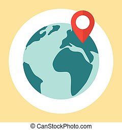 Flat planet earth icon. Pin map icon on globe