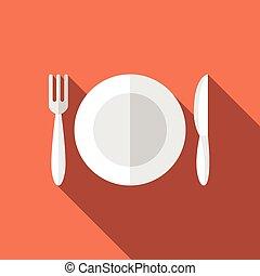 Flat plate, fork, knife