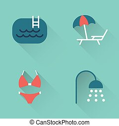 Flat pool swimming icons on blue background