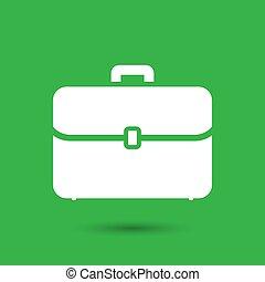 flat portfolio briefcase icon on a green background