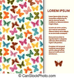 Flat poster or banner template with butterflies