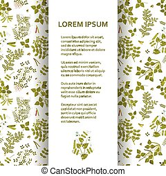 Flat poster or banner template with legume plants. Vector...