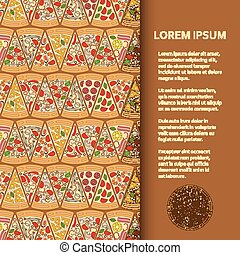 Flat poster or banner template with pizza pieces