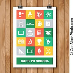 Flat Poster with Education and School Supplies Icon Set.