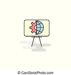 Flat Presentation Icon. Vector