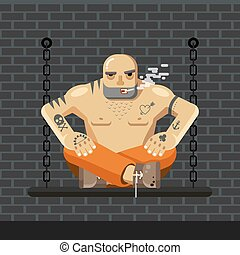 Flat Prisoner. Man in orange prison clothes sitting on a bench with chain and smoke - vector illustration