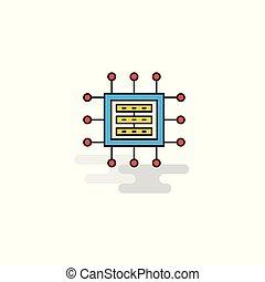 Flat Processor Icon. Vector