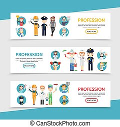Flat Professions Horizontal Banners