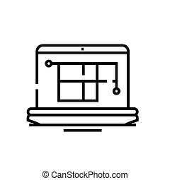 Flat project line icon, concept sign, outline vector illustration, linear symbol.