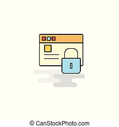 Flat Protected website Icon. Vector