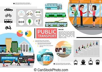 Flat Public Transport Elements Composition - Flat public...