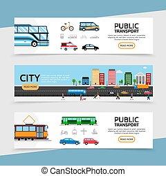 Flat Public Transport Horizontal Banners - Flat public...