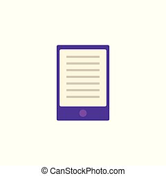 Flat purple tablet or palmtop with text at screen