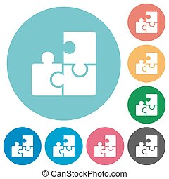 Flat puzzle icons