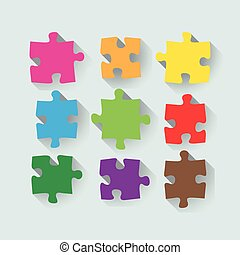 Flat puzzle set - Set of puzzle pieces in a flat design,...