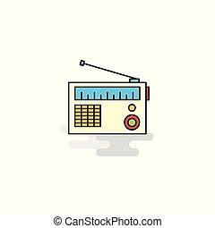 Flat Radio Icon. Vector