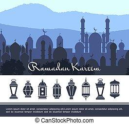 Flat Ramadan Kareem Concept
